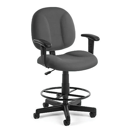 OFM Comfort Series Superchair Task Chair With Drafting Kit, Gray/Black