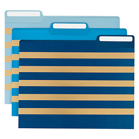 Office Depot® Brand Fashion Paper File Folders, Letter Size, Foil Stripe, Assorted Colors, Pack Of 6 Folders
