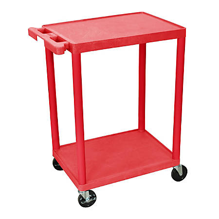 "Luxor 2-Shelf Plastic Utility Cart, 33 1/2""H x 24""W x 18""D, Red"