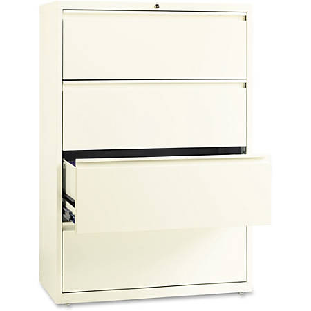 Lorell® Fortress Series 36''W 4-Drawer Steel Lateral File Cabinet, Cloud White