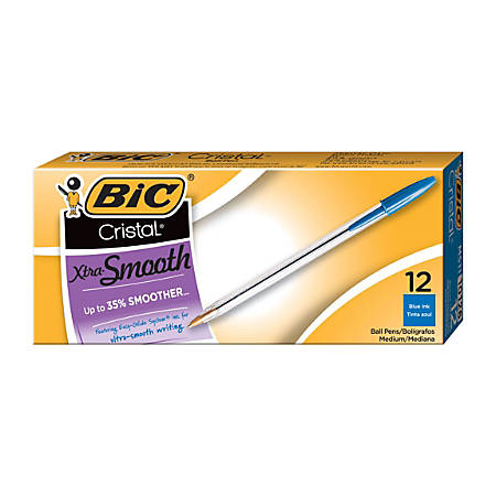 BIC® Cristal® Ballpoint Pens, Medium Point, 1.0 mm, Clear Barrel, Blue Ink, Pack Of 12