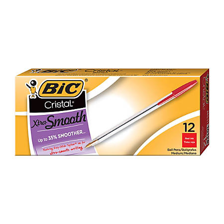 BIC® Cristal® Ballpoint Pens, Medium Point, 1.0 mm, Clear Barrel, Red Ink, Pack Of 12