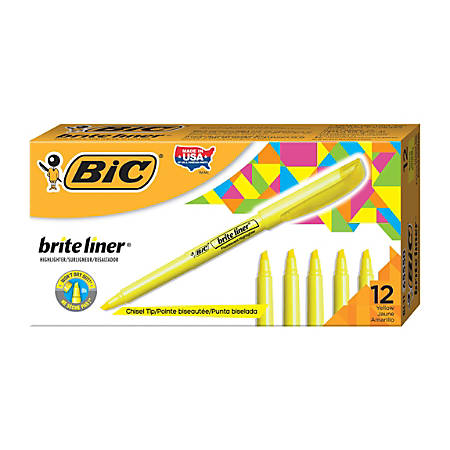 BIC® Brite Liner® Highlighters, Yellow, Box Of 12