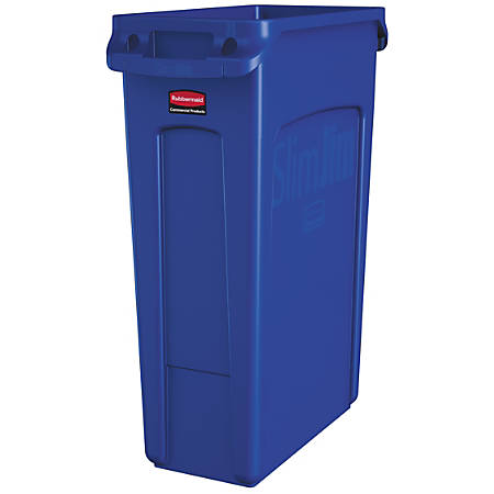 Rubbermaid® Slim Jim Rectangular Polyethylene Vented Waste Receptacle, 23 Gallons, Blue