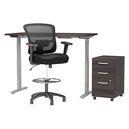 "Move 60 Series by Bush Business Furniture 60""W Height Adjustable Standing Desk With Storage And Drafting Chair, Storm Gray, Premium Installation"