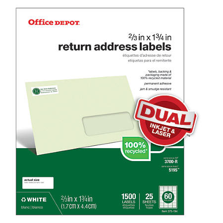 "Office Depot® Brand 100% Recycled Mailing Labels, 505-O004-0031, Return Address, 2/3"" x 1 3/4"", White, Box Of 1,500"