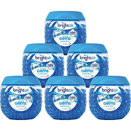 Bright Air Scent Gems Odor Eliminator Gel Beads, Cool & Clean Scent, 10 Oz, Pack Of 6