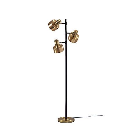 "Adesso® Clayton Tree Lamp, 66-1/2""H, Antique Brass/Matte Black"