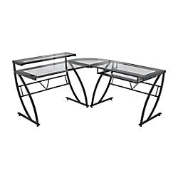 office depot glass desk. z line designs feliz l shaped glass computer desk black by office depot u0026 officemax s