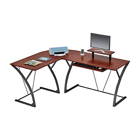 "Z-Line Designs Khloe ""L""-Shaped Glass Computer Desk, Espresso"