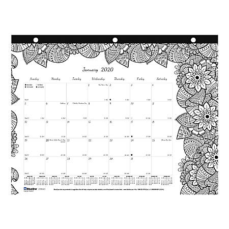 "Blueline® Doodle Monthly Desk Pad Calendar, 11"" x 8-1/2"", January to December 2020"