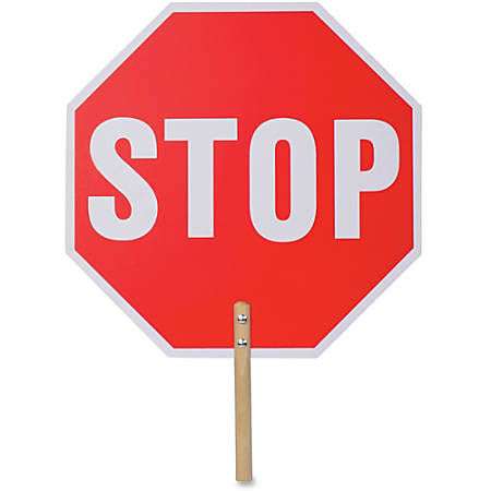 """Tatco Handheld Stop Sign - 1 Each - Stop Print/Message - 18"""" Width x 18"""" Height - White Print/Message Color - Double-sided, Weather Proof, Long Lasting, Lightweight, Comfortable Grip - Wood - Red"""
