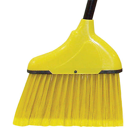 "Wilen Complete Angle Broom, Small, 48"" Handle, Black/Yellow, Case Of 12"