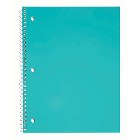 """Just Basics® Poly Spiral Notebook, 8 1/2"""" x 10 1/2"""", College Ruled, 140 Pages (70 Sheets), Teal"""