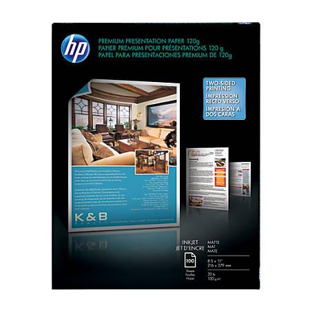 "HP Premium Presentation Paper, Matte, 8 1/2"" x 11"", 32 Lb, Pack Of 100 Sheets"