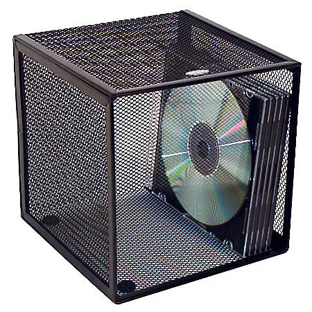 """Rolodex® Mesh Desk Cube With Drawers, 6""""H x 6""""W x 6""""D, Black"""
