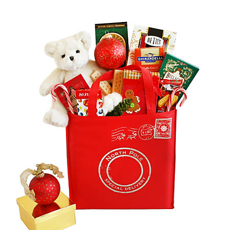 """Givens Gifting North Pole Special Delivery Holiday Tote, 20""""H X 12""""W X 6""""D, Multicolor"""