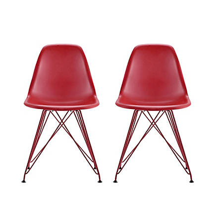 DHP Mid-Century Modern Molded Chairs, Red/Red, Set Of 2