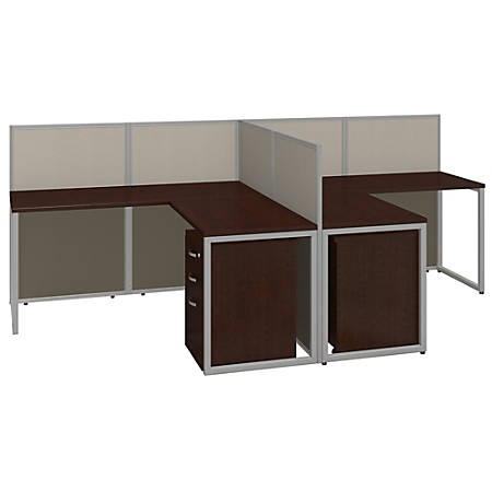 Bush Business Furniture Easy Office 2 Person L Desk Open With Two 3 Drawer Mobile Pedestals 44 7 8 H X 60 1 25 W 119 9 10 D Mocha Cherry