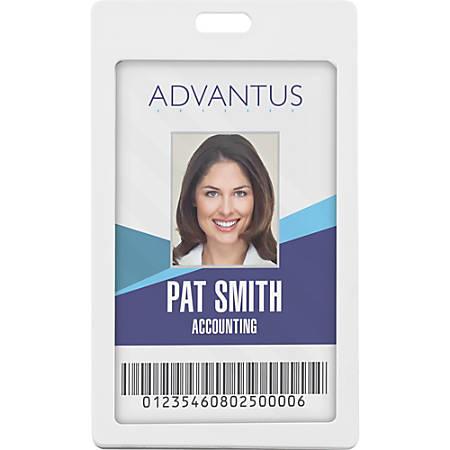 Advantus Vertical Rigid ID Badge Holder - Vertical - Plastic - 6 / Pack - White