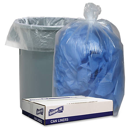 """Genuine Joe Clear Low Density 1.1mil Liners - 43"""" Width x 47"""" Length - 1.10 mil (28 Micron) Thickness - Low Density - 100/Carton - Clear"""