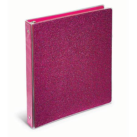 "Office Depot® Brand Fashion Binder, 1"" Rings, Pink Glitter"