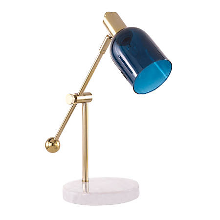 Lumisource Marcel Contemporary Table Lamp, White/Gold/Blue