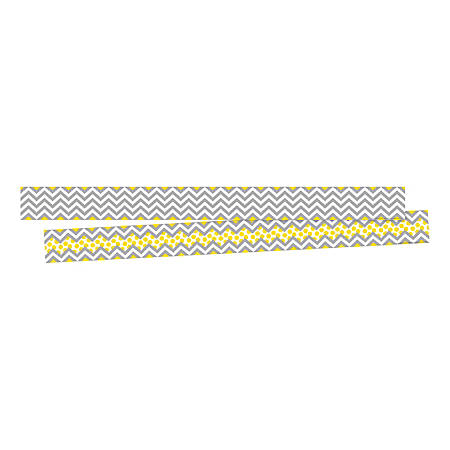 "Barker Creek Double-Sided Border Strips, 3"" x 35"", Chevron Gray/Yellow, Set Of 24"