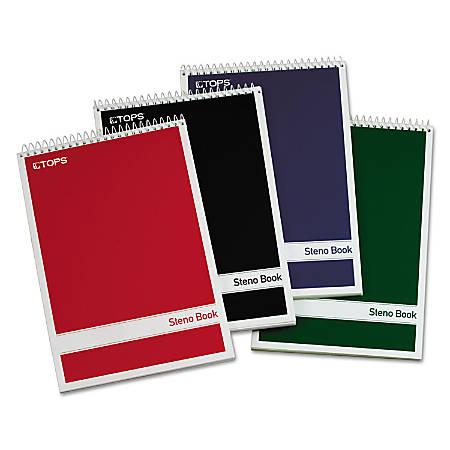 "TOPS™ Steno Books, 6"" x 9"", Gregg Ruled, 80 Sheets, White, Pack Of 4"