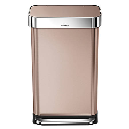 simplehuman Rectangular Stainless Steel Step Trash Can, 12 Gallons, Rose Gold