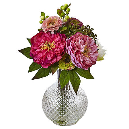 "Nearly Natural 14""H Plastic Peony And Mum Arrangement With Glass Vase, Pink"