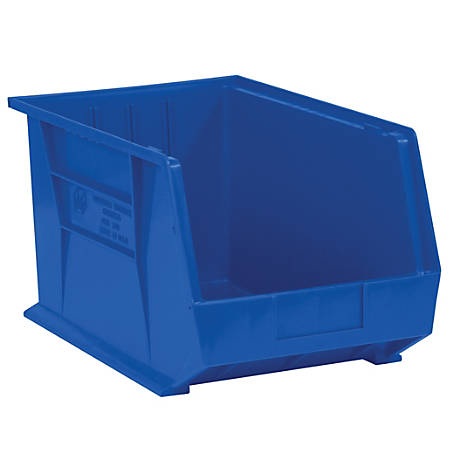 """Office Depot® Brand Plastic Stack And Hang Bin Boxes, 10 3/4"""" x 8 1/4"""" x 7"""", Blue, Pack Of 6"""
