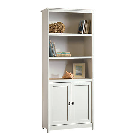 Sauder® Cottage Road 5-Shelf Library With Doors, Soft White