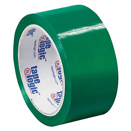 """Tape Logic® Carton-Sealing Tape, 3"""" Core, 2"""" x 55 Yd., Green, Pack Of 18"""