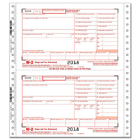 "ComplyRight™ W-2 Continuous Tax Forms, Employee Copies A, B, C And 1/D, 4-Part, 9 1/2"" x 11"", Pack Of 100 Forms"