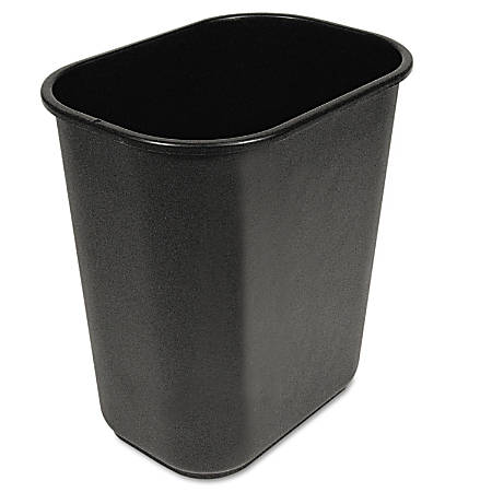 "Boardwalk® Soft-Sided Rectangular Prism Plastic Wastebasket, 28 Qt, 15""H x 11""W x 14 3/8""D, Black"