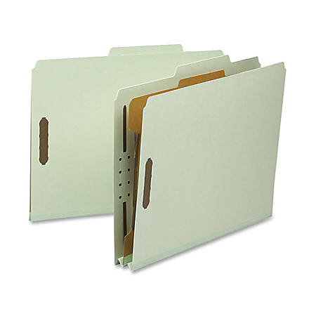 "Nature Saver Classification Folders, Letter Size, 2"" Expansion, Gray/Green, Box Of 10"