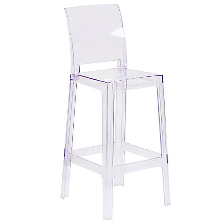 Flash Furniture Square-Back Ghost Bar Stool, Clear