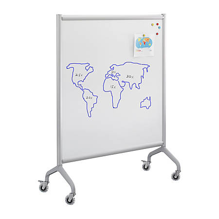 "Safco® Rumba™ Screen Whiteboard, 54"" x 42"", Silver Frame"