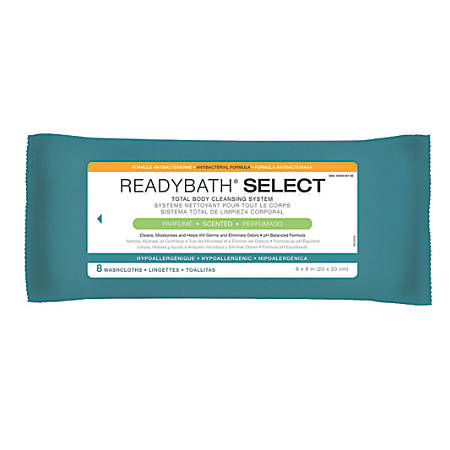 """ReadyBath SELECT Medium-Weight Cleansing Washcloths, Antibacterial, Scented, 8"""" x 8"""", White, 8 Washcloths Per Pack, Case Of 30 packs"""
