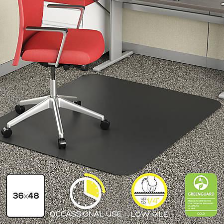 """Deflect-O Chair Mat For Industrial Carpet, Rectangular, 36"""" x 48"""", Black"""