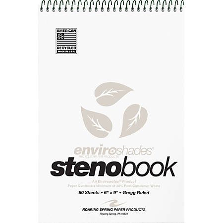"Roaring Spring Enviroshades Steno Books, 6"" x 9"", Gregg Ruled, 80 Sheets Per Pad, 30% Recycled, Gray, Pack Of 4"