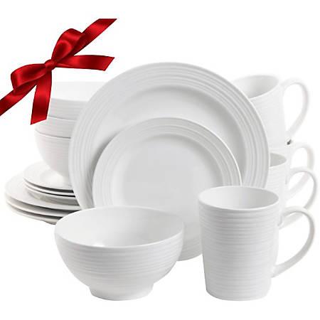 "Gibson Amelia Court 16 pc. DW Set - 10"" Diameter Dinner Plate, 7.50"" Diameter Dessert Plate, 6"" Diameter Soup Bowl, 16 fl oz Mug - Ceramic - Dishwasher Safe - Microwave Safe - White"