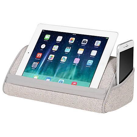 "LapGear Heritage Tablet Pillow, 5.5""H x 12""W x 6.5""D, Gray Linen"