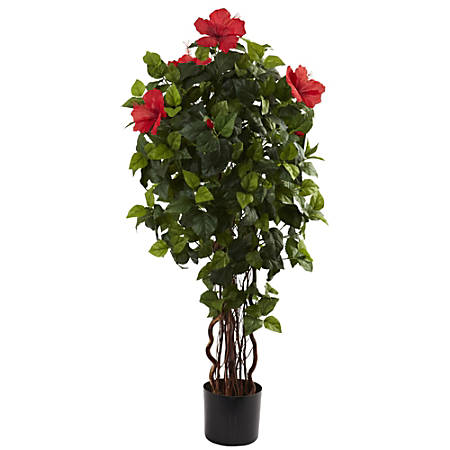 Nearly Natural 4'H Polyester Hibiscus Tree With Pot, Green
