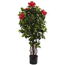 Nearly Natural 4H Polyester Hibiscus Tree