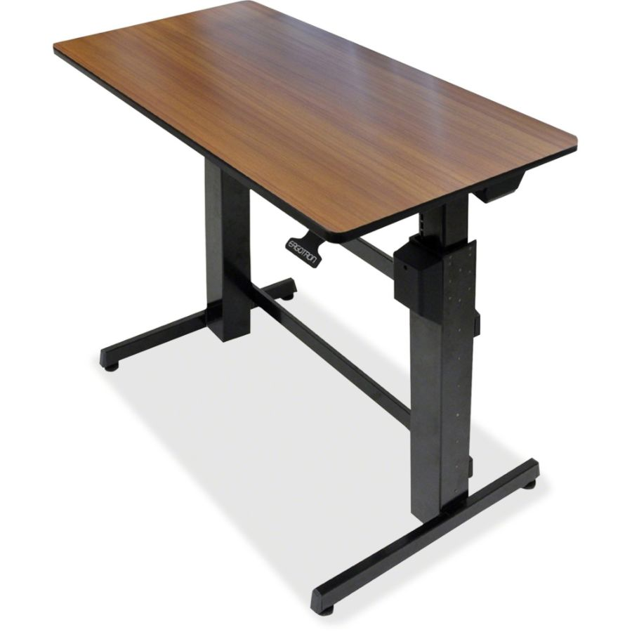 Ergotron WorkFit D Sit Stand Desk Walnut by Office Depot OfficeMax