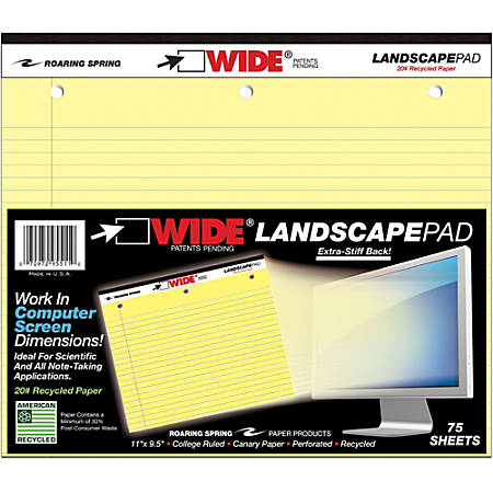 "Roaring Spring Wide Landscape College-Rule Pad, 75 Sheets, Perforated, Hole-Punched, 11"" x 9 1/2"", Canary Paper/Black Binding"