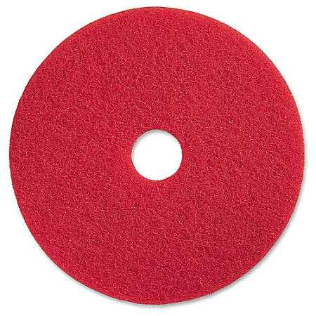 "Genuine Joe Red Buffing Floor Pad - 20"" Diameter - 5/Carton x 20"" Diameter x 1"" Thickness - Fiber - Red"
