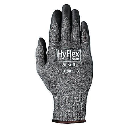 HyFlex Foam Gray Gloves, 8, Black/Gray